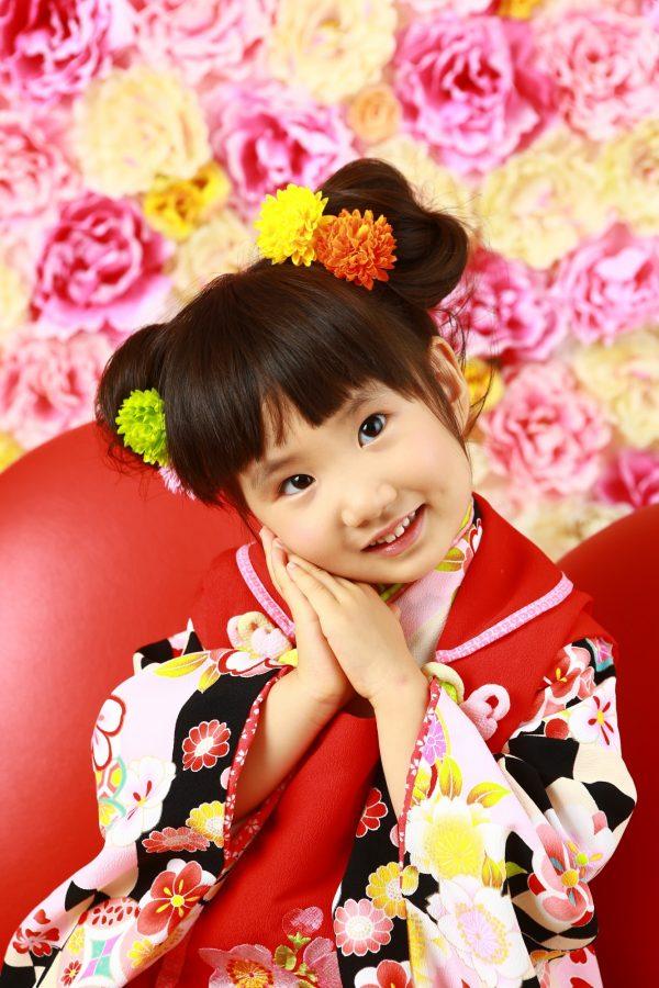 可愛い3歳女の子 七五三撮影