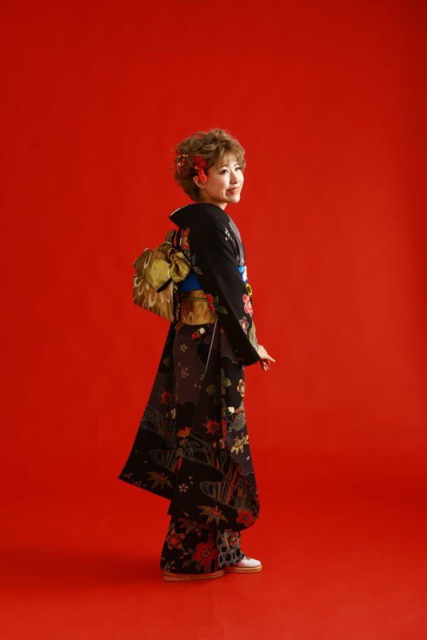 古典柄の着物 お嬢様なりのアレンジ 振袖撮影